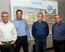 Reiselustige v.l.: Richard Espertshuber, Frank Slomski, Moderator Armin Rauen, Dieter Grosch