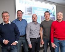 Reiselustige von links: Moderator Richard Espertshuber, Frank Slomski, Günther Breu, Ralf Saller, Armin Rauen